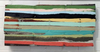 "bricks, mortar, paint, 2010, 24""w x 11""h x 4""d (front)"