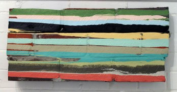 "bricks, mortar, paint, 2010, 24""w x 11""h x 4""d (front)"