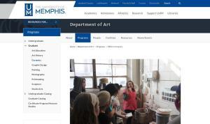 University of Memphis Department of Art screenshot
