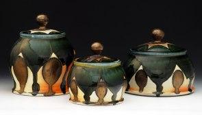 "Soda-Fired Porcelain, 12""x10""x10"" (largest jar)"