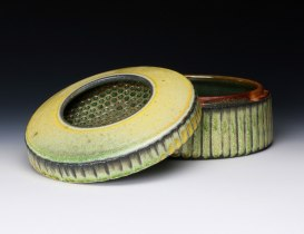 6 x 10 x 10, Wheel thrown white stoneware with applied Yellow Salt and Celadon glazes, soda fired to cone 10 in reduction.