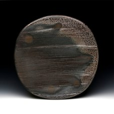 2 x 16 x 16, Wheel thrown black stoneware with surformed texture, soda fired to cone 10 in reduction.