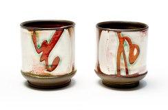 "each: 4"" H x 3"" Diameter, Hand-built stoneware with underglaze decoration"