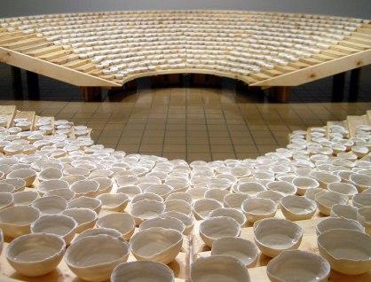 Porcelain, saltwater, reclaimed wood, 20' diameter, 2006