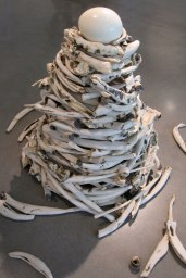 Installation of porcelain bones with egg, Porcelain, eggshell, Cone 6 Oxidation, Oxide Wash, 2011, 4'x3'x3'