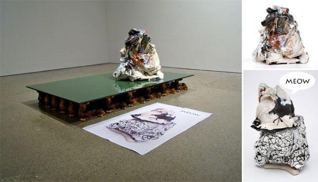 2010, found object, mixed media, laserjet, ceramic, glaze