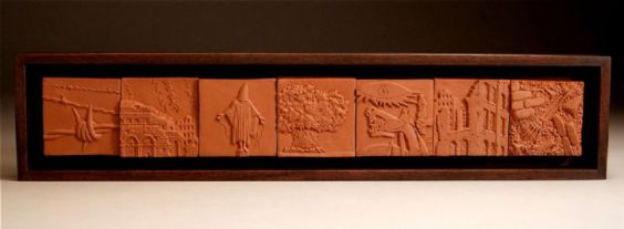 """terra cotta, wood, 2006, 4 1/4"""" x 20"""" x 1 3/4"""""""