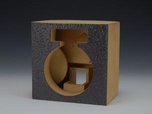 slab-formed copper-fumed glazed stoneware - c6 ox – 7 x 7 x 5 - 2017