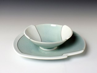 reduction fired porcelain, decals, 3 x 8 ¾ x 11