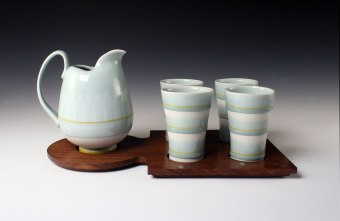"""reduction fired porcelain, decals, walnut 8"""" x 10"""" x 18"""