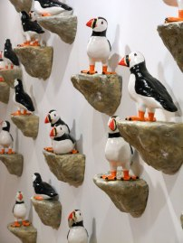 """Low-fire Ceramic and Sound, Dimensions Variable (puffins are approx. 10""""x10""""x6"""") 2012"""