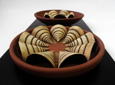 Red Pottery Clay and Clay with Chamotte, Hand Shaping & Pressing Mold & Wheel Throwing, Ceramic on Wood, 1050˚C, 45x24x6 cm, 2015