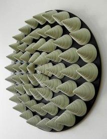 R:45 x h:8 cm, Slip Casting Coloured Porcelain, Ceramic on Wood, 2013