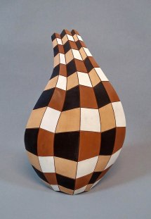 Red Pottery Clay, Hand Shaping, 1050 C, 12x27x43 cm, Brush Decoration with Coloured Slips, 2015