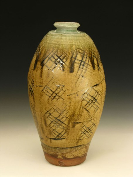 Ash glaze with paddled pattern. 20 inches tall.