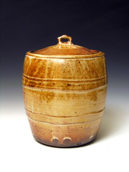 Shino glaze. Wood fired. 12 inches tall.