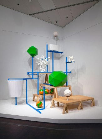 Ceramic, powder coated aluminum, wood, vinyl, plaster, pigment, boardInstalled at the Denver Art Museum