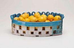 "Fruit Basket, 21"" x 7"" x 7"", Earthenware, Lemons, 2011"