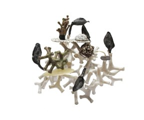 Ceramic, resin, glazed scoria, 11'' x 11'' x 8'', 2014