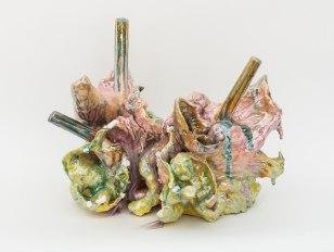 "17"" x 15"" x 15"", hand built raku clay, glaze, luster, 5/2017"