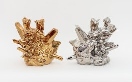 """11"""" x 11"""" x 11"""", Slip cast porcelain, glaze, PVD (Metallic plating), 6/2013 [Made while a resident artist at The Pottery Workshop, Jingdezhen, China]"""