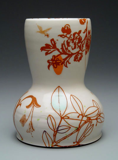 "9""h x 7""w, mid-range porcelain, oxidation, with laser transfers"