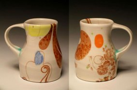"""5""""w x 6""""h, mid-range porcelain, oxidation, with laser transfers"""