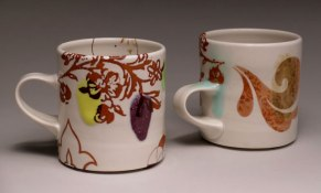 """5""""h x 6""""w, mid-range porcelain, oxidation, with laser transfers"""