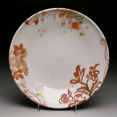"""14""""w x 2.5""""h, mid-range porcelain, oxidation, with laser transfers"""