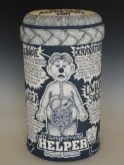"""Slab built English Porcelain, hand-painted color slip, glaze fired to cone 6 electric. 8""""x5""""x15"""". 2014"""