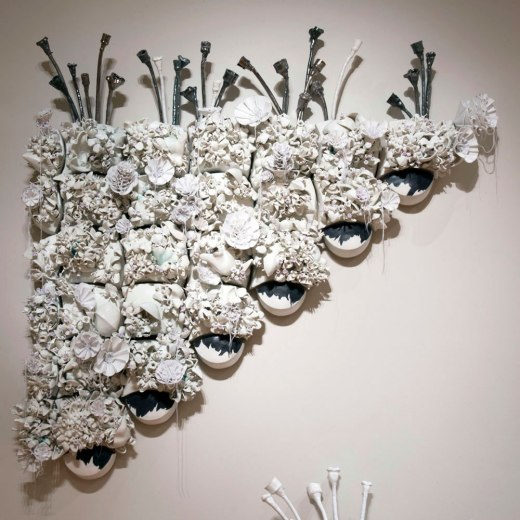 """Unintended Consequences, 2013-2014, wall piece, porcelain, wood, foam, thread, 88"""" x 81"""" x 15"""""""
