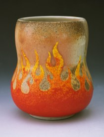 """Thrown """"Dirty"""" Porcelain with underglazes. Cone 12 Wood-fired"""