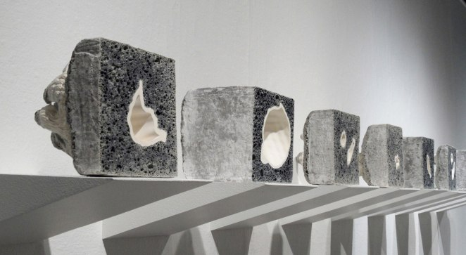 Lava glaze with embedded slip-cast porcelain, Installation