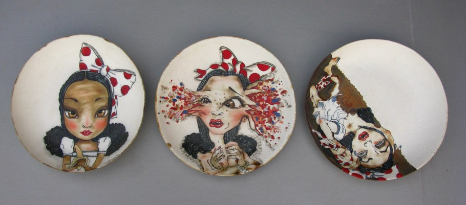 "2012, 2013, 2014, 3 porcelain plates, 14.5x14.5x2"", inscribed drawing, glazes, and stains, oxidation fired to ^10."