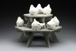 "Raft Lake Fable: ""gossip girls"", hand built stoneware and slip cast porcelain, cone 6 oxidation, 16""Hx17.5""Wx17.5""D"