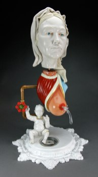 Polished Porcelain, Glaze, Gold Leaf, Cast Resin, Copper Pipe, Oil Paint, Flocking Fiber, 16 x 16 x 26 in., 2014