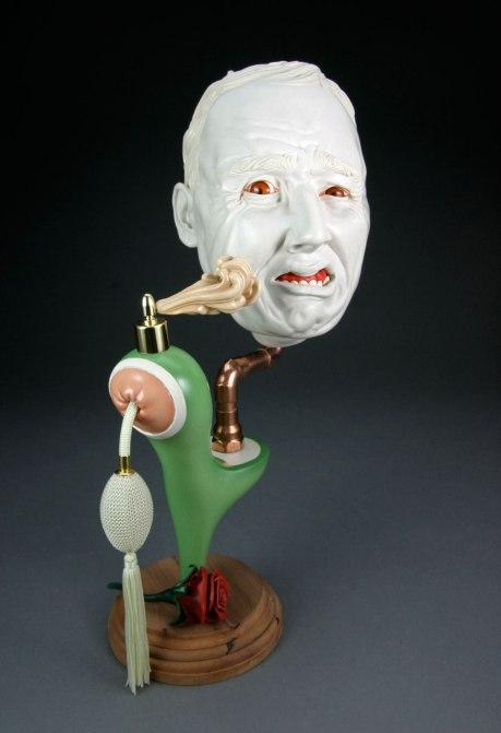 Polished Porcelain, Glaze, Steel, Aromatic Cedar, Perfume Atomizer, Copper, 11 x 6 x 18 in., 2013