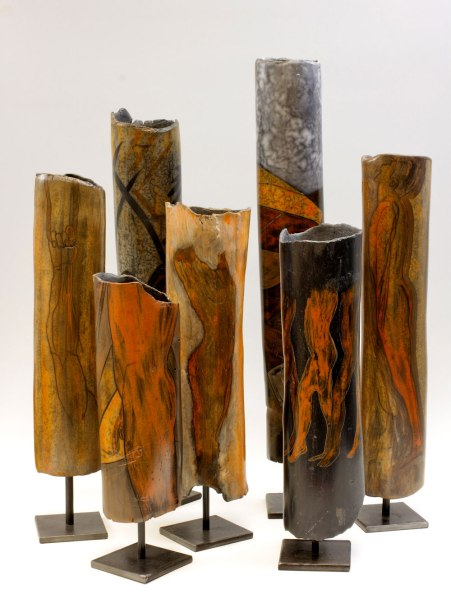 Stoneware, Terra sigillata, smoke reduction firing, Periscope Gallery Solo exhibition 2017