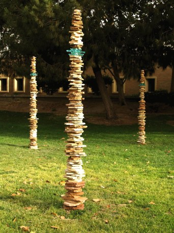 """CSU Bakersfield campus, ~108"""" tall each, 2008, stoneware, cone 10 reduction, glass"""