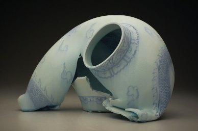 """15"""" x 15"""" x 23"""", porcelain, cobalt inlay, 2011"""
