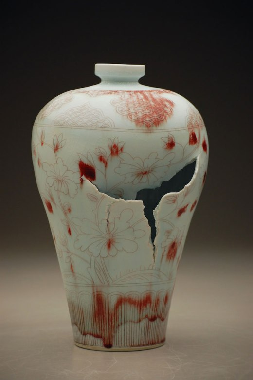 """9"""" x 9"""" x 16"""", porcelain, copper inlay, 2012"""