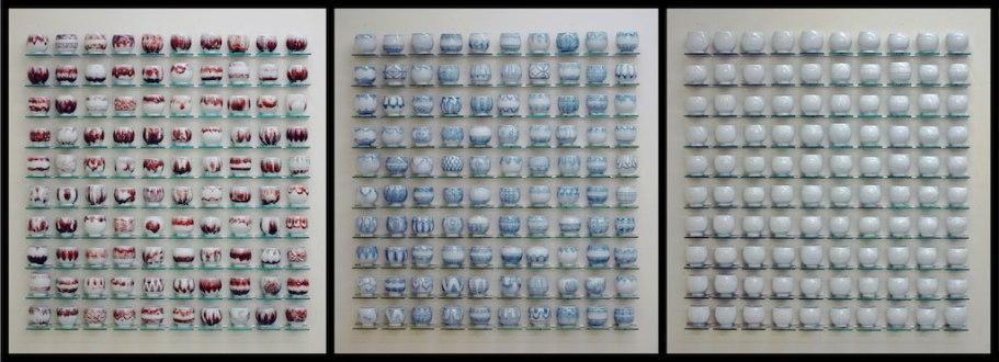 "4"" x 46"" x 50"", porcelain, copper inlay, cobalt inlay, white slip, 2013"