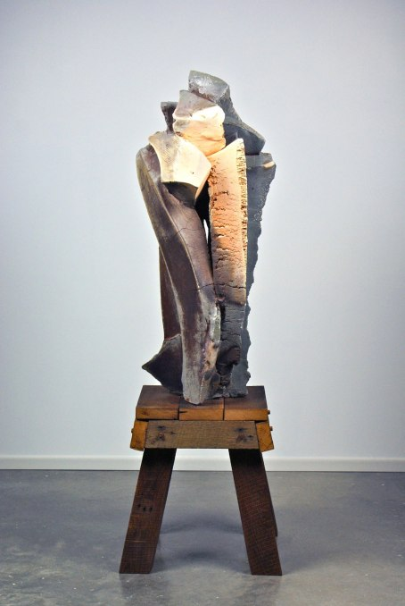 "64 x 20 x 20"", woodfired stoneware with natural ash glaze, oak"