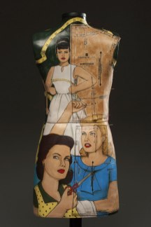 "cone 6 porcelain with underglaze illustration, print transfer, pins, wooden stand, 56""x14""x8"", 2012 (back view)"