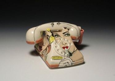 "slipcast cone 04 ceramic with underglaze illustration, print transfer, 5""x9""x8"", 2011"