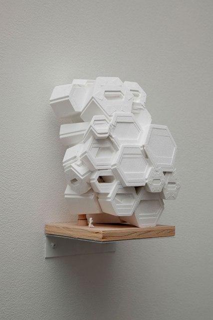 """e9"""" x 5"""" x 5"""", 3D Print (plaster-like composite) and HO-scale figure, 2012"""