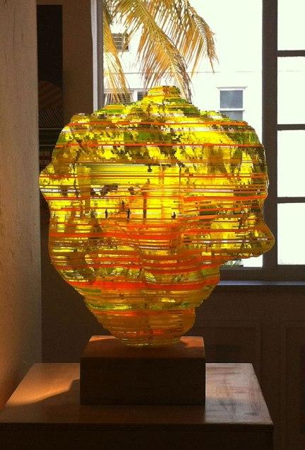 """22"""" x 12"""" x 15"""", acrylic, HO-scale figures and wood, 2012"""