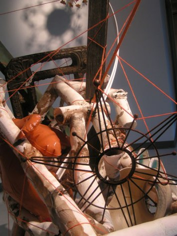 Stoneware, orange yarn, metal star, blow-up dog found in Mid-City. Large objects on loan from Holis Hannan