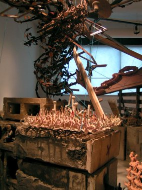 Ceramics and mixed media installation at Louisiana Artworks, New Orleans, Aug. 2008