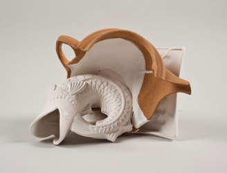 slip cast of local Israeli clay and Limoges porcelain